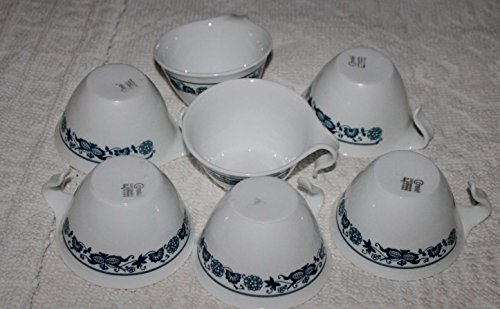 12 Piece Set - Corning Corelle Blue Onion (Old Town Blue) Hook Handle Cup - Six (6) Cups & (6) Saucers