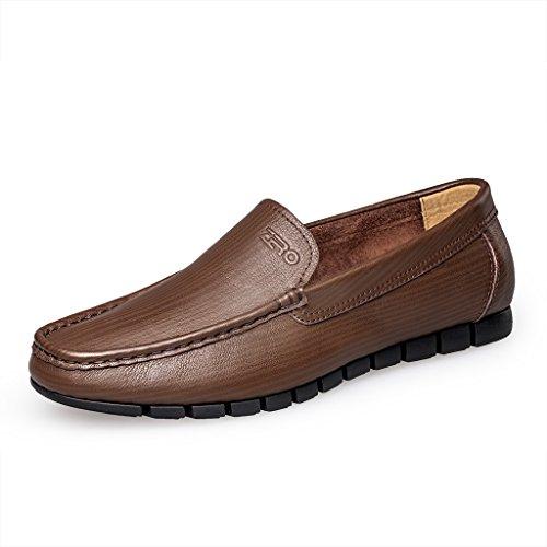 Zro Hombres Slip On Moc Toe Flat Loafer Zapatos Casuales De Moda Marrón Oscuro