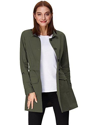 Kate Kasin Slim Fit Thin Long Anorak Jacket Coat Long Sleeve Army Green Size XL KK825-2
