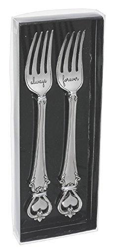 Ganz Wedding Dining Stainless Steel Silver Cake 2 Piece Forks Set