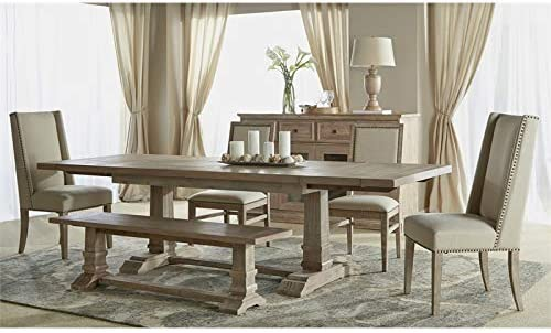 MAKLAINE Large Dining Bench in Stone Wash