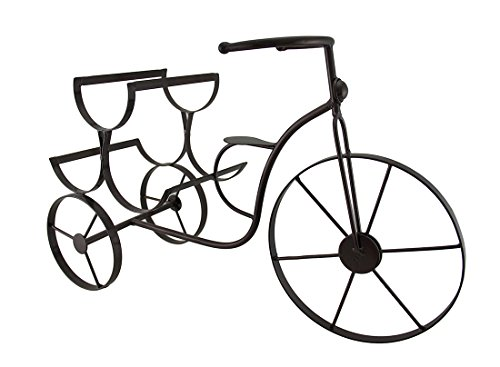 Zeckos Metal Wine Bottle Holders Vintage Tricycle 3 Bottl...