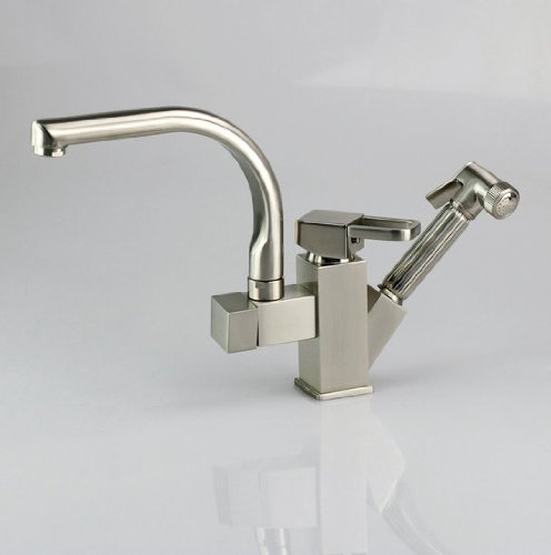 Luxury Kitchen Mixer Tap Pull Out Spray with Shower Swivel Faucet ,Nickel Brushed Ys9160