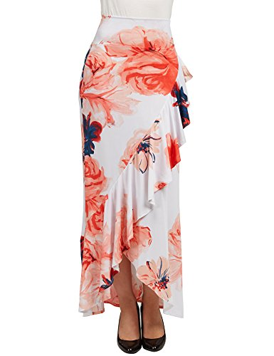 LL WB1353 Womens Print Wrapped High Low Ruffle Maxi Skirt L NAVY_CORAL