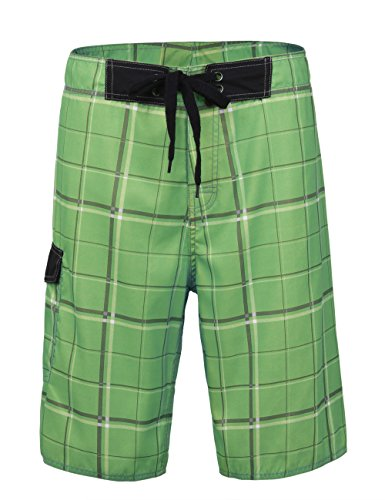 Unitop Men's Swim Trunks Summer Holiday Plaid Pattern Quick Dry Green-39 34