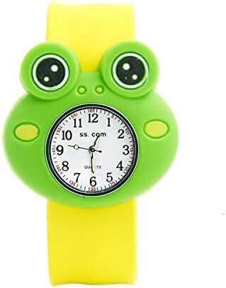Unisex 3D Cartoon Frog Kids Watch Sports Watch Bendable Rubber Strap Wrist Watch