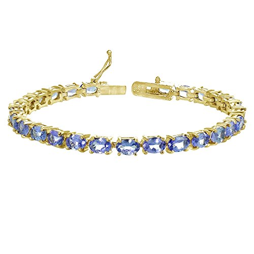 Yellow Gold Flashed Sterling Silver 6X4mm Tanzanite Oval-cut Tennis Bracelet by GemStar USA