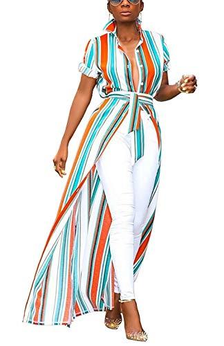 Womens Rainbow Stripe Print Shirt Dress Casual Botton Down Long Maxi Dress with Belt]()