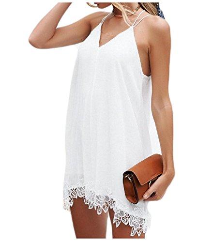 YUNY Women's Cami Tank Tops Lace Sexy Open Back Summer Chiffon Mini Dress White XS