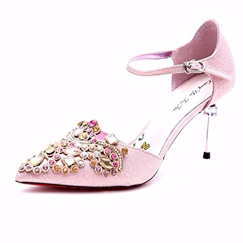 Imitación Diamantes Zapatos Boca CN37 De Tamaño Profundo De Spring La Tacón De Poco tacón del Moda Pink UK4 EU37 5 de YIXINY Zapatos 5 Alto Talón Zapato Color Fine Sra Pink 6748 40AnqX0d