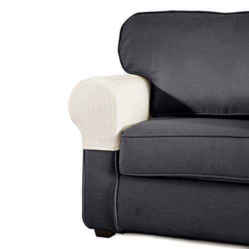 SyMax Spandex Armrest Cover Stretch Fabric Anti-Slip Recliner Arm Covers Furniture Protector Set of 2(Beige)