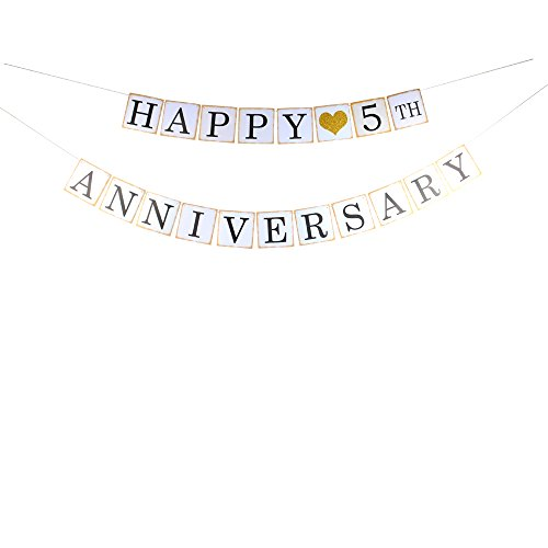 Happy 5th Anniversary banner for 5th wedding party décor