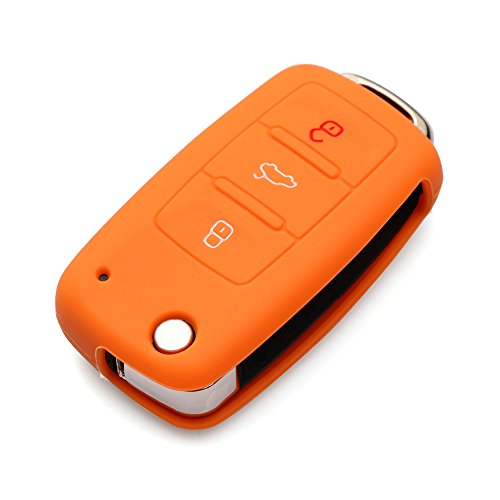 (AndyGo Protective Silicone Key Cover Keyless Entry Remote Fob Shell Fit For VW Volkswagen 3 Button)