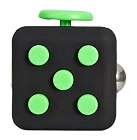 Ratoop Fidget Cube Relieves Stress and Anxiety Attention Toy for Work/Class/Home, Black/Green