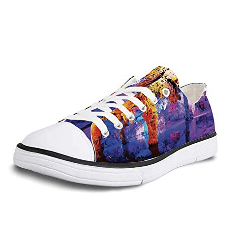 Canvas Sneaker Low Top Shoes,Natural Cave Decorations Rock Formation on Algarve Coast Seascape and Cliffs Fantasy Serene Scenery Man 10