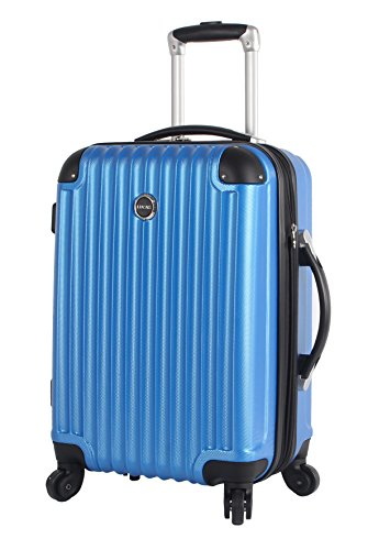 Lucas Outlander Carry On Hard Case 20 inch Expandable Rolling Suitcase With Spinner Wheels (20in, Blue) (Rolling Luggage Expandable)