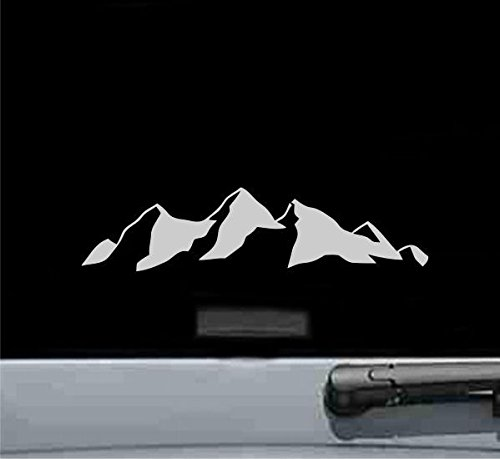 Climbing Sticker - JS Artworks Mountains Vinyl Decal Sticker (Silver)