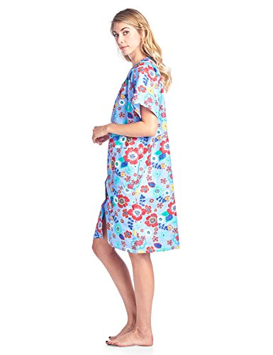 Casual Nights Women's Floral Woven Snap-Front Lounger House Dress - Blue - XX-Large by Casual Nights (Image #3)