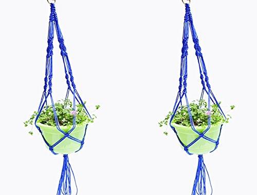 Fvstar 2pcs 40 inch Macrame Plant Hanger Outdoor Hanging Planter Flower Pot Basket Rope with 4-Leg and Hanging Hoop (Blue) (40 Planters Outdoor Inch)