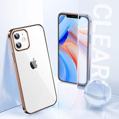 TORRAS Crystal Clear Compatible for iPhone 12 Case, Compatible for iPhone 12 Pro Case, [10X Yellow Resistant][Support Wireless Charging] Slim Fit Thin Soft TPU Shockproof Phone Cover, Glossy Gold