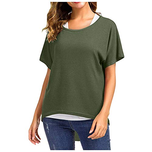 Ros1ock_Women's Tops Batwing Sleeve Plus Size Short Sleeve T-Shirt Breathable Lightweight Pullover Green