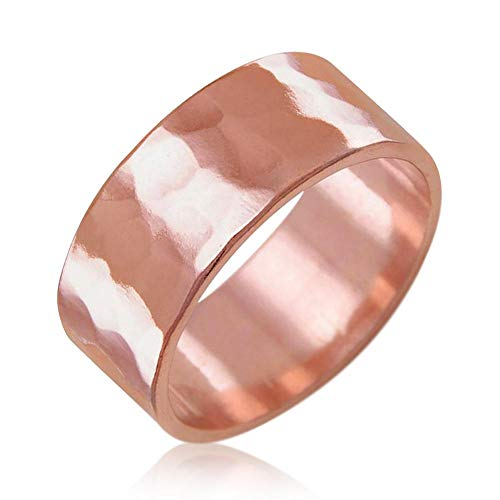 Samie Collection Pure Uncoated Solid Healing Therapy Copper Ring Band for Men & Women: 3mm, 6mm, 8mm: Plain & Hammered- Trace Mineral, Natural Relief of Joint Pain, Size ()