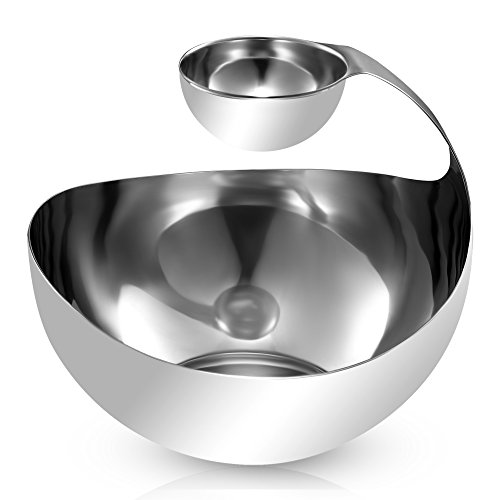 Stainless Steel Chips and Dip Bowl - Entertain in Style with Small Tiered Divided Serving Dish Holder for Dips - Appetizers - Condiments - Salsa - Salad - Sauces in Serveware by Pro Chef Kitchen Tools