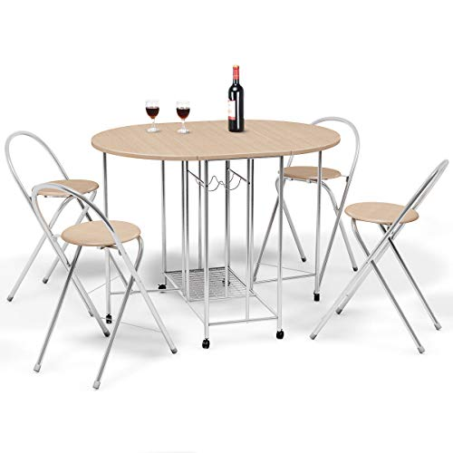 Giantex 5PC Foldable Dining Set with Shelf Storage and Wine Rack, 4 Chairs and Table Set with Wood Top and Metal Frame for Apartment and Kitchen Home Furniture