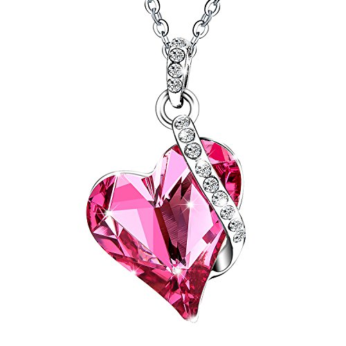 Menton Ezil Love Heart Pendant Necklace Made with Pink Rose Swrovski Crystals Gifts for Her Woman Fashion (Love Pink Crystal Heart Necklace)