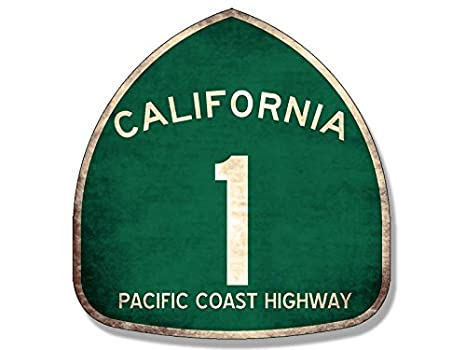 Vintage Pacific Coast Highway 1 Sign Shaped Sticker (PCH California Route)