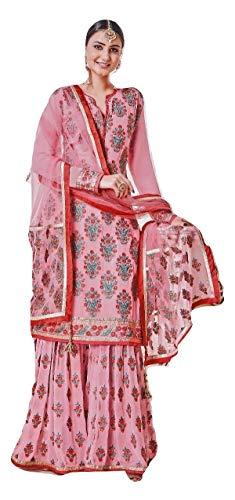 (stylishfashion Indian/Pakistani Ethnic wear with Heavy Work Georgette Ready to wear Plaazo Salwar Kameez Designer Suit for Women (Pink, CHEST-36 WEST-32 Hips-3))