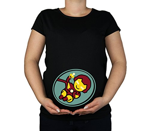 Colour Fashion Maternity Soft Touch Ironman Baby Cotton Print Top (Medium, Black) -
