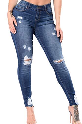 Blu Pantaloni Jeans Vita Casual Tratto Strappati Donne Sottile I Scurocolor Alta Yacun zdvw7qv