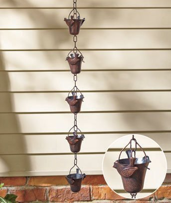 CT DISCOUNT STORE Bird Iron Rain Chains Design -Classic Japanese Style Transport Rain Water From Temple Roof Tops To Ground Level - Rainwater Gutter