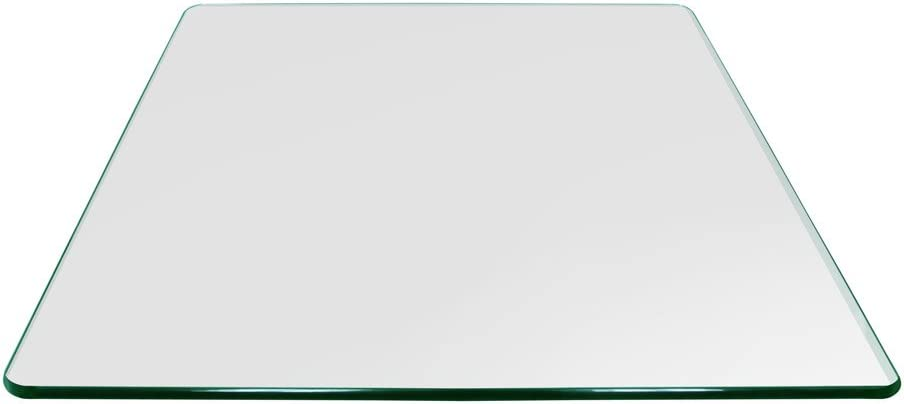 """Square Glass Table Top 24 Inch Custom Annealed Clear Tempered, 3/8"""" Thick Glass With Flat Polished Edge & Radius Corner For Dining Table, Coffee Table, Home & Office Use by TroySys"""