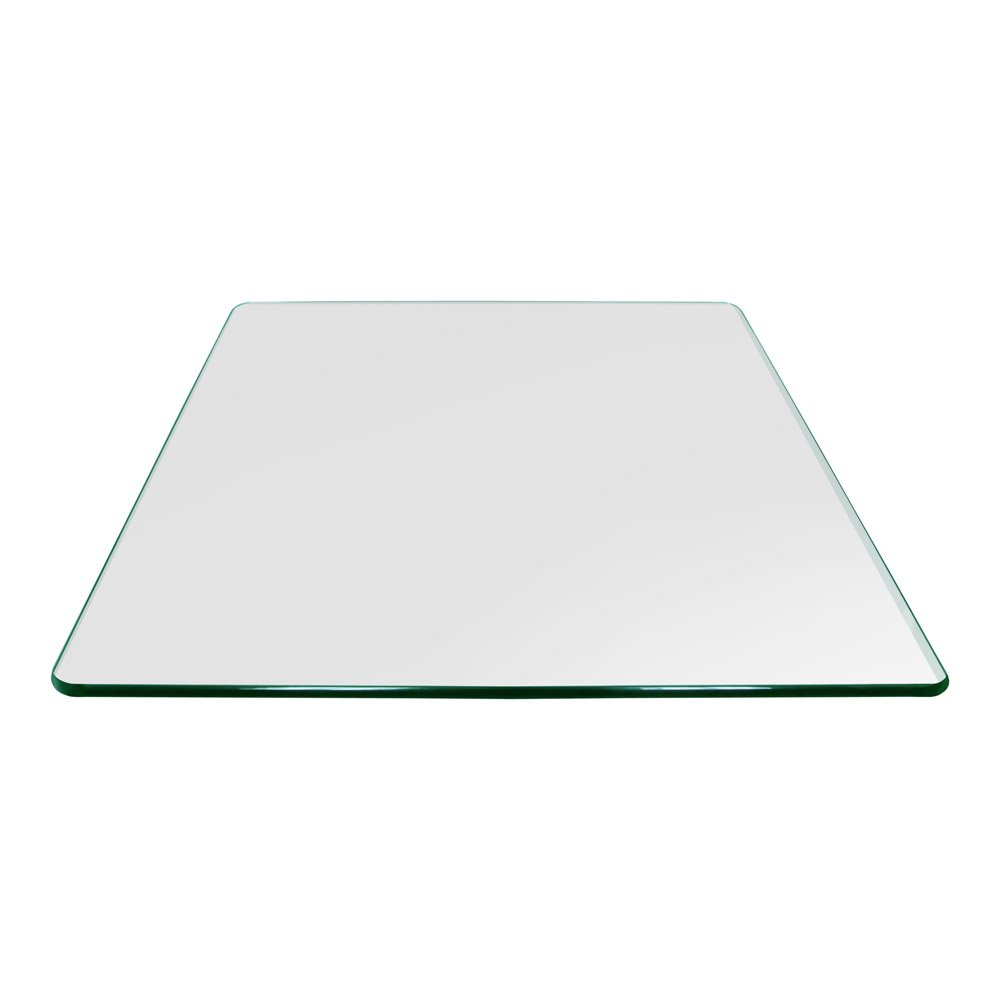 Square Glass Table Top 24 Inch Custom Annealed Clear Tempered, 3/8'' Thick Glass With Flat Polished Edge & Radius Corner For Dining Table, Coffee Table, Home & Office Use by TroySys by TroySys