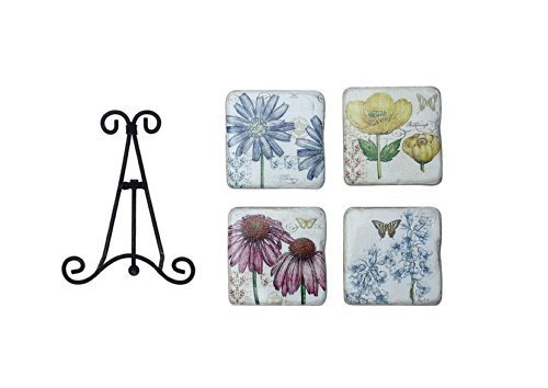 Creative Co-Op Tim Coffey Resin Floral Coasters with Stand by Creative Co-Op