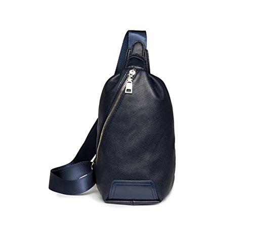 T-FBW Men's handbag New Breast Bag - Bolsa de mensajero para hombres y mujeres Soft-Breasted PU Breast Bag Crossbody Bag (Color : Marrón) Azul