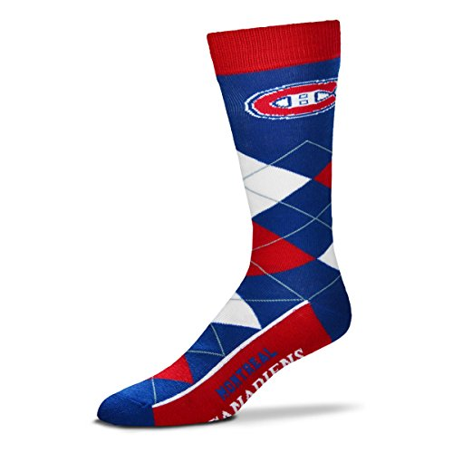For Bare Feet NHL Argyle Lineup Unisex Crew Dress Socks-One Size Fits Most-Montreal Canadiens (Montreal Nhl Hockey)