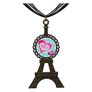 Chicforest Bronze Retro Style Painted Hearts Eiffel Pendant