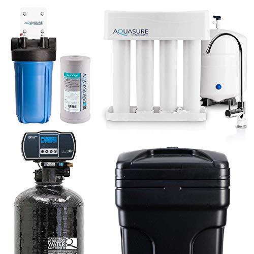 Aquasure Whole House Water Filtration Bundle w/Water Softener, 75 GPD RO System & Dual Purpose Sediment/GAC Pre-Filter (48,000 Grains) ()
