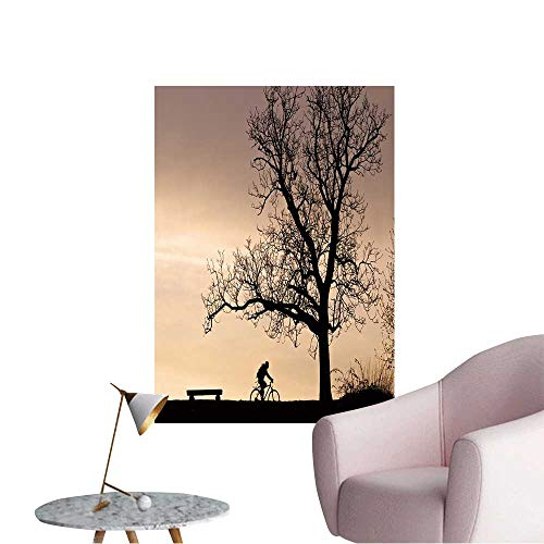 Wall Decoration Wall Stickers Bench and Tree Silhouette in The Evening Light Print Artwork,32
