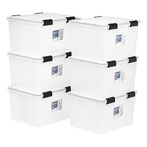IRIS 46 Quart WEATHERTIGHT Storage Box, 6 Pack, Clear