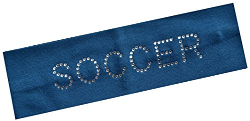 Navy Blue Team Ball (SOCCER Rhinestone Cotton Stretch Headband for Girls Teens and Adults - Soccer Team Gifts (Light Navy))