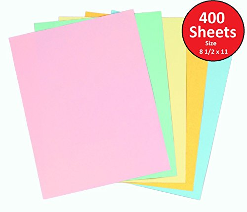 1InTheOffice Pastels Colored Copy Paper, Assorted, 8.5 x 11 inch Letter Size, 20lb Density, (400 Sheets) by 1InTheOffice