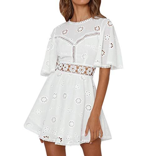 Mikilon Women's Lace Floral Hollow Out Mini Dress Crewneck Ruffle Sleeve Swing Summer Short Dress White