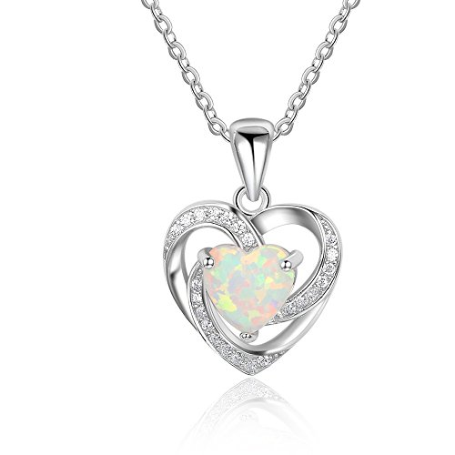 Lucky Opal Necklace - Lam Sence Sterling Silver 7mm Heart Shape Created Opal Pendant Necklace