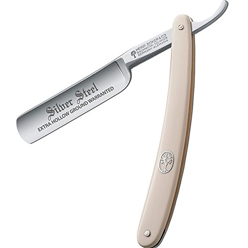 Boker Straight Razor, Silver Steel White Handle 140611, Carbon Steel