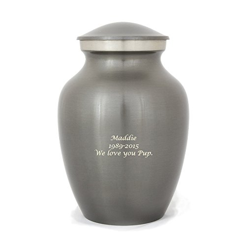 OneWorld Memorials Brass Pet Urn Extra Small Holds Up to 25 Cubic Inches of Ashes Grey Engraving Included