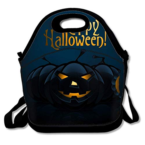 (LONSANT Best Happy Halloween Picnic Storage Bag Funky Lunch Box Food Bag Cooler Warm Pouch Tote Bag for School Work)